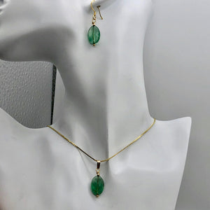 Natural Green Fluorite Pendant and Earrings Set with Gold Findings | 14K gf | - PremiumBead