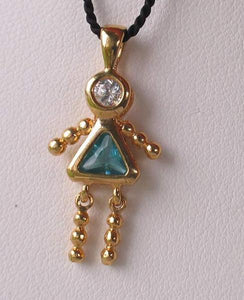 March! Crystal Kid Girl & 14K Vermeil Pendant 9926Cg - PremiumBead