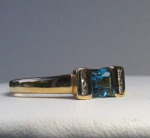 Blue topaz & Diamonds Solid 14Kt Yellow Gold Ring Size 7 9982Aj - PremiumBead Alternate Image 3