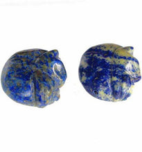 Load image into Gallery viewer, 1 Cozy Hand Carved Natural Lapis Kitty Cat Bead | 18x20x9mm | Blue w/ White - PremiumBead
