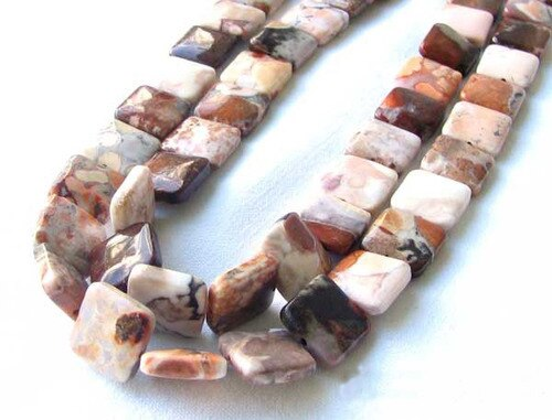 Stunning Patterns 14mm Square Conglomerate Jasper Square Bead Strand 109325 - PremiumBead
