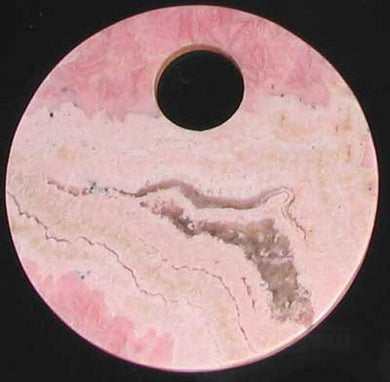 Natural, Untreated Lacy Pink Rhodochrosite 50mm Pi Circle Pendant Bead - PremiumBead