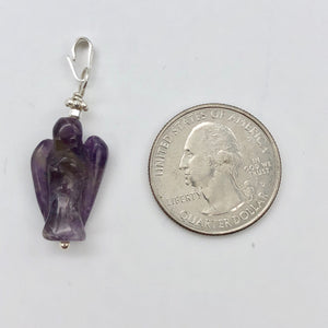 "On the Wings of Angels Amethyst Sterling Silver 1.5"" Long Pendant 509284AMS - PremiumBead"