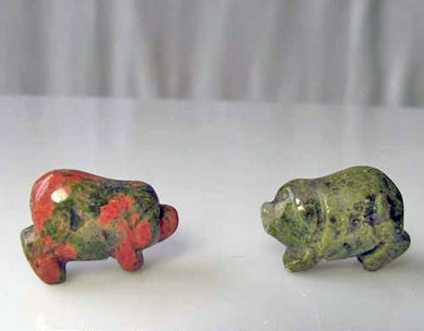 Piggies 2 Hand Carved Unakite Pig Beads | 23x16x11mm | Green with Pink - PremiumBead
