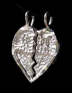 Sterling Silver Best Friends Heart Charm Pendant 9971E - PremiumBead