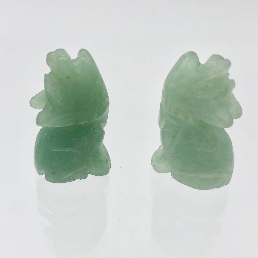 Howling New Moon 2 Carved Aventurine Wolf / Coyote Beads | 22x12x7.5mm | Green - PremiumBead