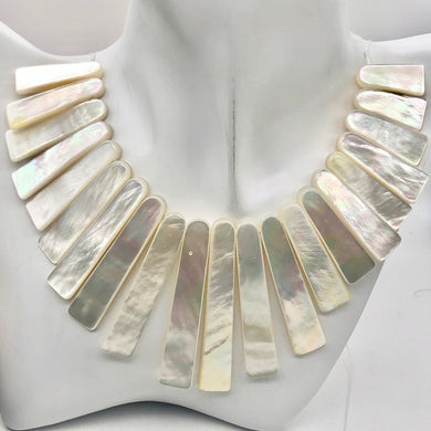 Designer! Mother of Pearl Shell Slab Collar Strand | 21 beads | - PremiumBead