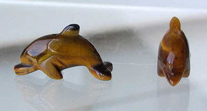 Jumping Two Carved Tigereye Dolphin Beads | 25x11x8mm | Golden Brown - PremiumBead