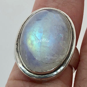 Rainbow Moonstone & Sterling Silver Ring (Size 7 3/4) 005849 - PremiumBead Alternate Image 3