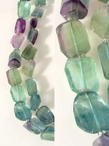 Incredible Artistically Faceted Multi-Hue Fluorite Nugget Bead Strand 109643 - PremiumBead Primary Image 1