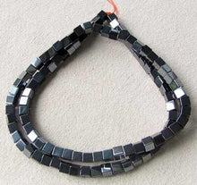 Load image into Gallery viewer, metallic-49-hematite-4x4x4mm-cube-beads-8-inch-strand-007570hs-10850