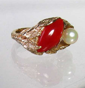 Natural Red Coral & Pearl Carved Solid 14Kt Yellow Gold Ring Size 5.75 9982D - PremiumBead Alternate Image 3
