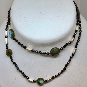 Elegant Black-Cherry FW Pearl Labradorite 27 inch Necklace 200021 - PremiumBead Alternate Image 3