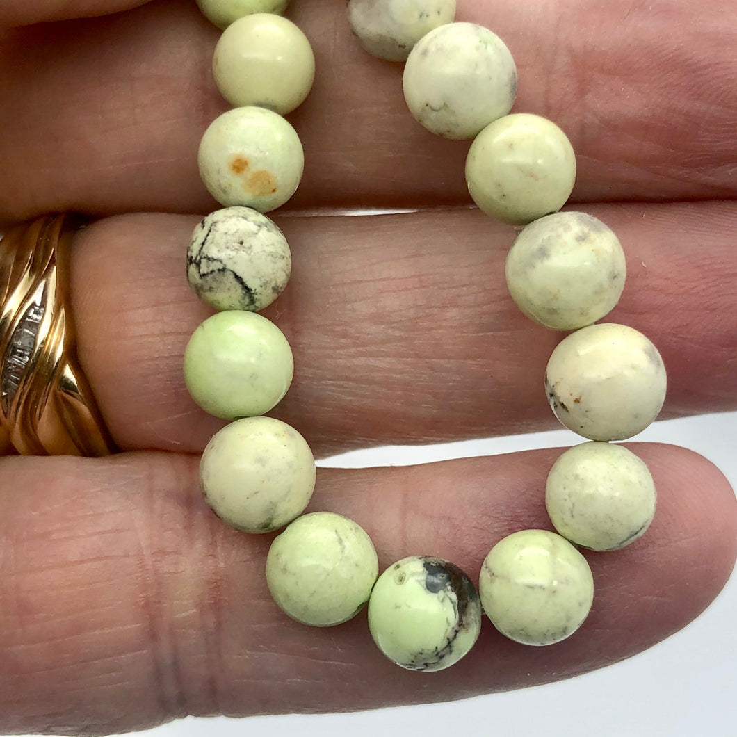Rare! Lemon Chrysoprase 7.5 - 8mm Beads! - PremiumBead
