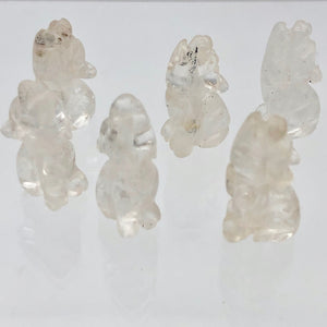 Howling New Moon 2 Carved Clear Quartz Wolf Coyote Beads | 21x11x8mm | Clear - PremiumBead