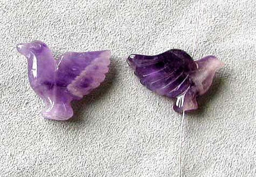 Lovely 2 Hand Carved Amethyst Dove Bird Beads | 18x18x7mm | Purple - PremiumBead