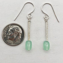 Load image into Gallery viewer, Unique Gem Quality Chrysoprase & Sterling Silver Earrings | 1 1/2 inch long | - PremiumBead