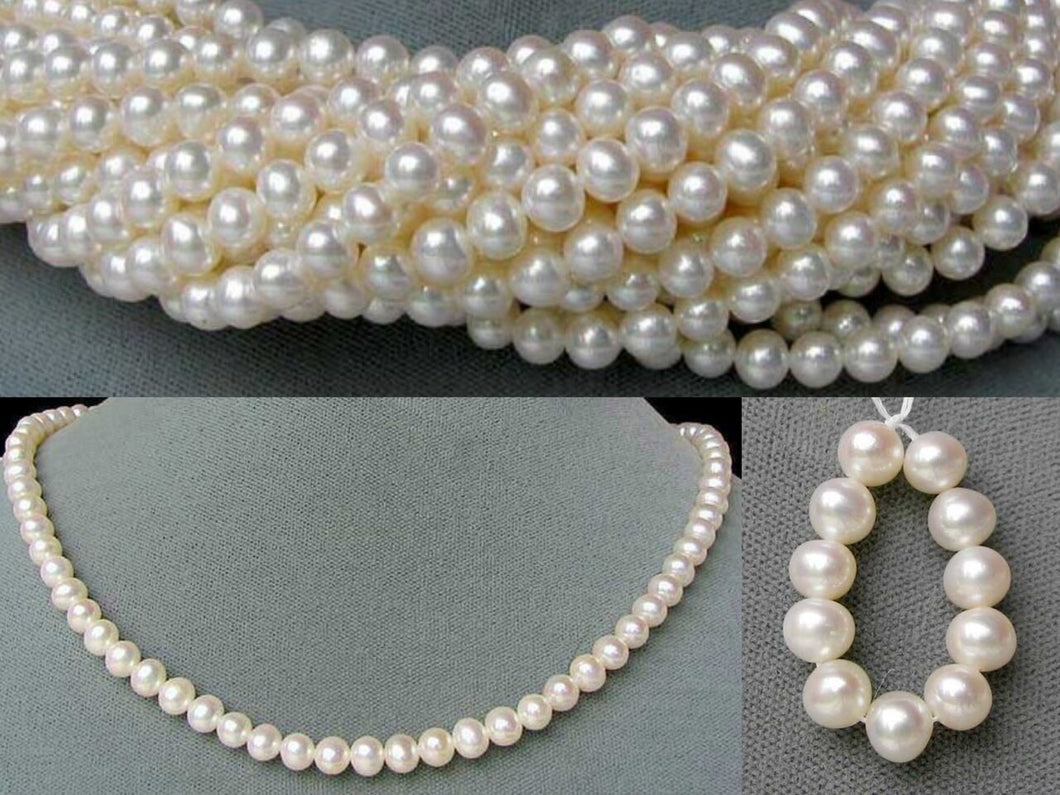 Spectacular Perfect Round Wedding White FW 6-5.5mm Pearl Strand 104504 - PremiumBead