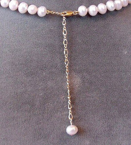 Adjustable 16 to 19 inch Creamy White FW Pearl and 14Kt Gf Necklace 200038 - PremiumBead