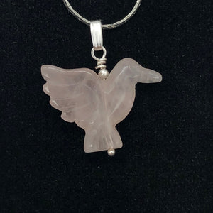 Rose Quartz Dove Pendant Necklace | Semi Precious Stone Jewelry | Silver