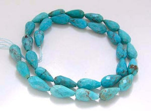 Natural USA Turquoise Teardrop Bead Strand | 14x7 to 13x6.5mm | 29 Beads |