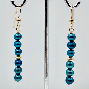 "Shinning Teal Fresh Water Pearl 14K Gold Filled Earrings | 2"" long 