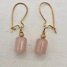 Load image into Gallery viewer, Madagascar Rose Quartz Tube Bead 14k Gold Filled Semi Precious Stone Earrings - PremiumBead Primary Image 1