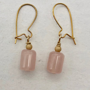 Madagascar Rose Quartz Tube Bead 14k Gold Filled Semi Precious Stone Earrings - PremiumBead Primary Image 1