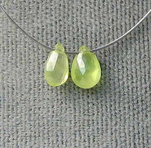 Load image into Gallery viewer, 2 Rare Spring Green 5x3x1.5-6x4x2mm Chrysoberyl Briolette Beads 5527 - PremiumBead