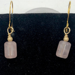 Madagascar Rose Quartz Tube Bead 14k Gold Filled Semi Precious Stone Earrings - PremiumBead Alternate Image 8