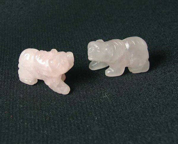 Roar 2 Hand Carved Natural Rose Quartz Bear Beads | 13x18x7mm | light Pink - PremiumBead