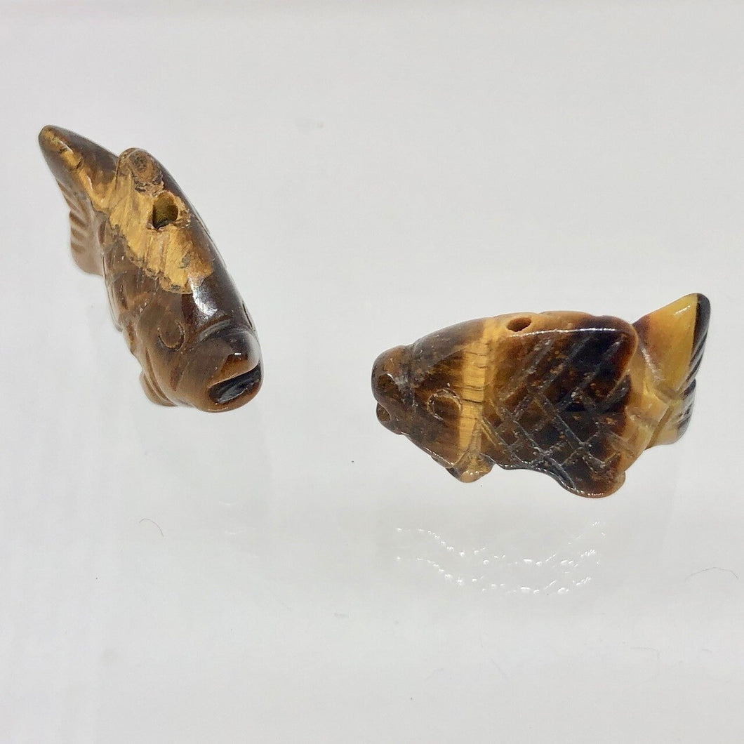 Swimmin' 2 Carved Tigers Eye Fish Koi Carp Beads | 23x11x8mm | Gold - PremiumBead Primary Image 1