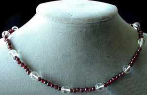 Garnet and Quartz Necklace Solid Sterling Silver Clasp 200022 - PremiumBead