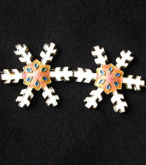 2 Peach Cloisonne Snowflake Centerpiece 30x27x4mm Beads 8638G - PremiumBead Primary Image 1