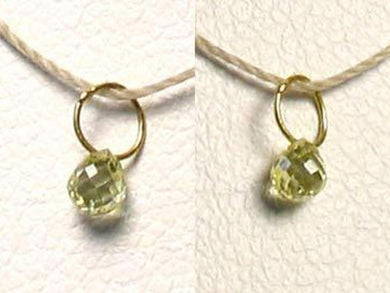 1 Natural Canary 3x2.5x2mm Diamond 18K Gold Pendant .22cts 8798M - PremiumBead