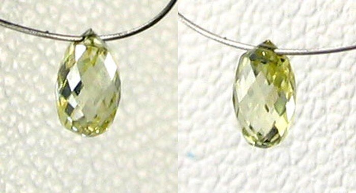 Natural Canary Diamond 4.25x2.75mm Briolette Bead .26cts 6110 - PremiumBead Primary Image 1