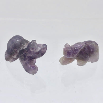 2 Hand Carved Natural Amethyst Bear Beads | 22x12.5x9.5mm | Purple some w/white - PremiumBead