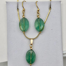Load image into Gallery viewer, Natural Green Fluorite Pendant and Earrings Set with Gold Findings | 14K gf | - PremiumBead