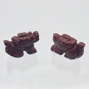2 Brecciated Jasper Hand Carved Winged Dragon Beads | 22x13.5x8mm | Red - PremiumBead