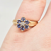 Load image into Gallery viewer, Tanzanite & Diamond Solid 10Kt Yellow Gold Flower Ring Size 7 9982F - PremiumBead Alternate Image 8