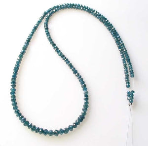 Blue Diamond Faceted Roundel Beads | 3-2.6mm | 9 Beads | ~1.0 carat |10597A - PremiumBead