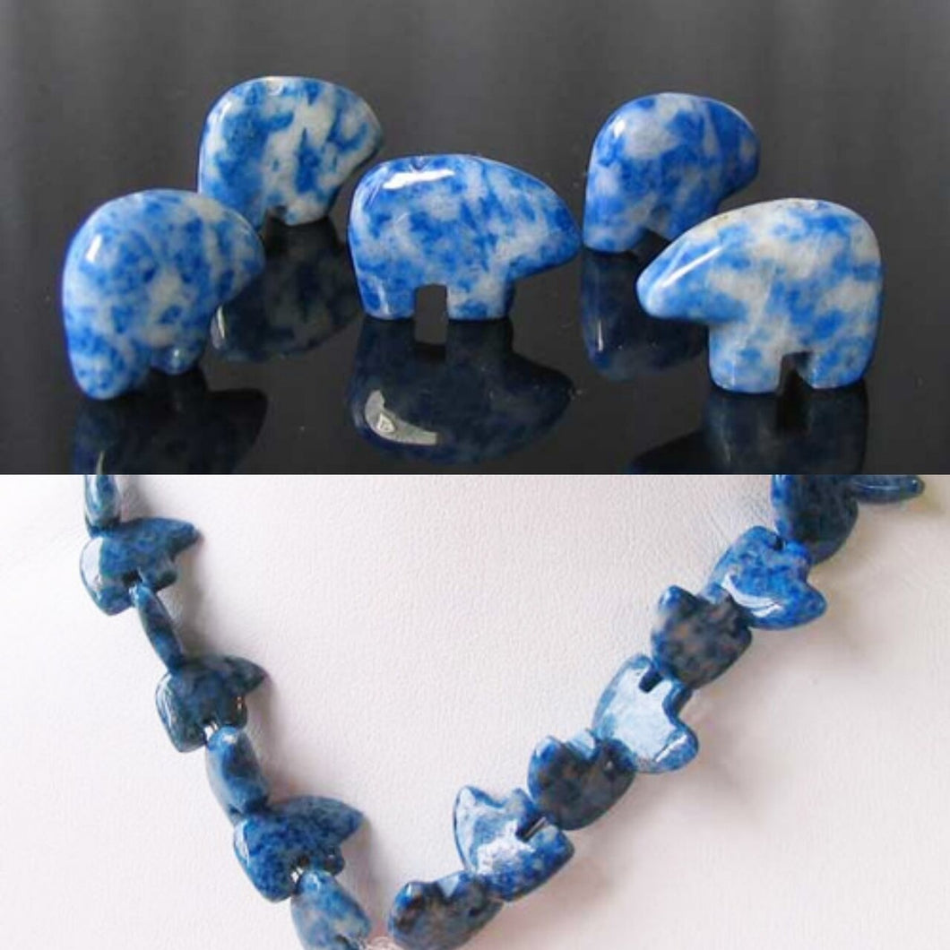 Roar! Carved Natural Lapis Bear Bead Strand 109252Lp | 15x12x4mm | Blue / white - PremiumBead