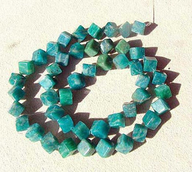 Vivid Natural Untreated Amazonite 7x6mm Diagonal Cube Bead Strand107396 - PremiumBead
