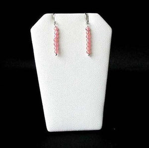Stiletto Gem Quality Rhodocrosite Drop Silver Earrings 5705 - PremiumBead