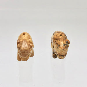 2 Picture Jasper Hand Carved Bison / Buffalo Beads | 22x13x9mm | Brown/Beige - PremiumBead