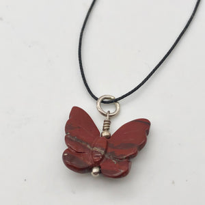 Flutter Carved Brecciated Jasper Butterfly and Sterling Silver Pendant 509256BJS - PremiumBead
