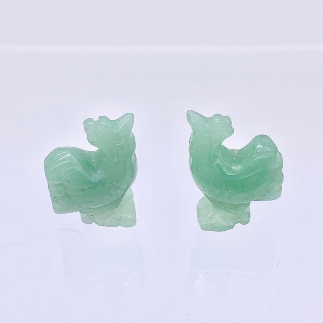 2 Cute Carved Aventurine Rooster Beads | 21x15x9mm | Green - PremiumBead Primary Image 1
