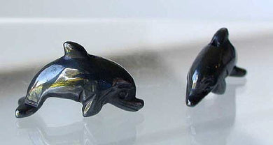 Unique 2 Carved Hematite Jumping Dolphin Beads | 25x11x8mm | Silver black - PremiumBead Primary Image 1