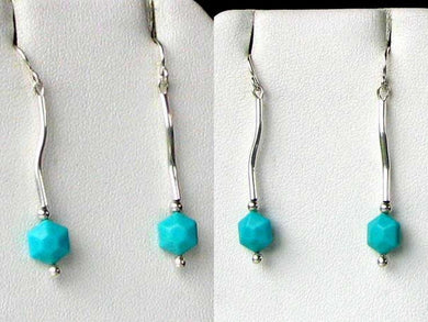 Elegant USA Natural Untreated Turquoise with Sterling Silver Earrings 6377 - PremiumBead Primary Image 1