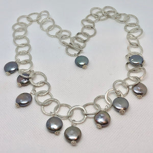 Perfect Moonrise Freshwater Pearl and Silver Circle Chain Necklace 209408 - PremiumBead